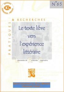 """Couverture de la brochure n° 65 publiée par l'ICEM-Pédagogie Freinet, et dont le titre est : """"Le texte libre vers l'expérience littéraire""""."""